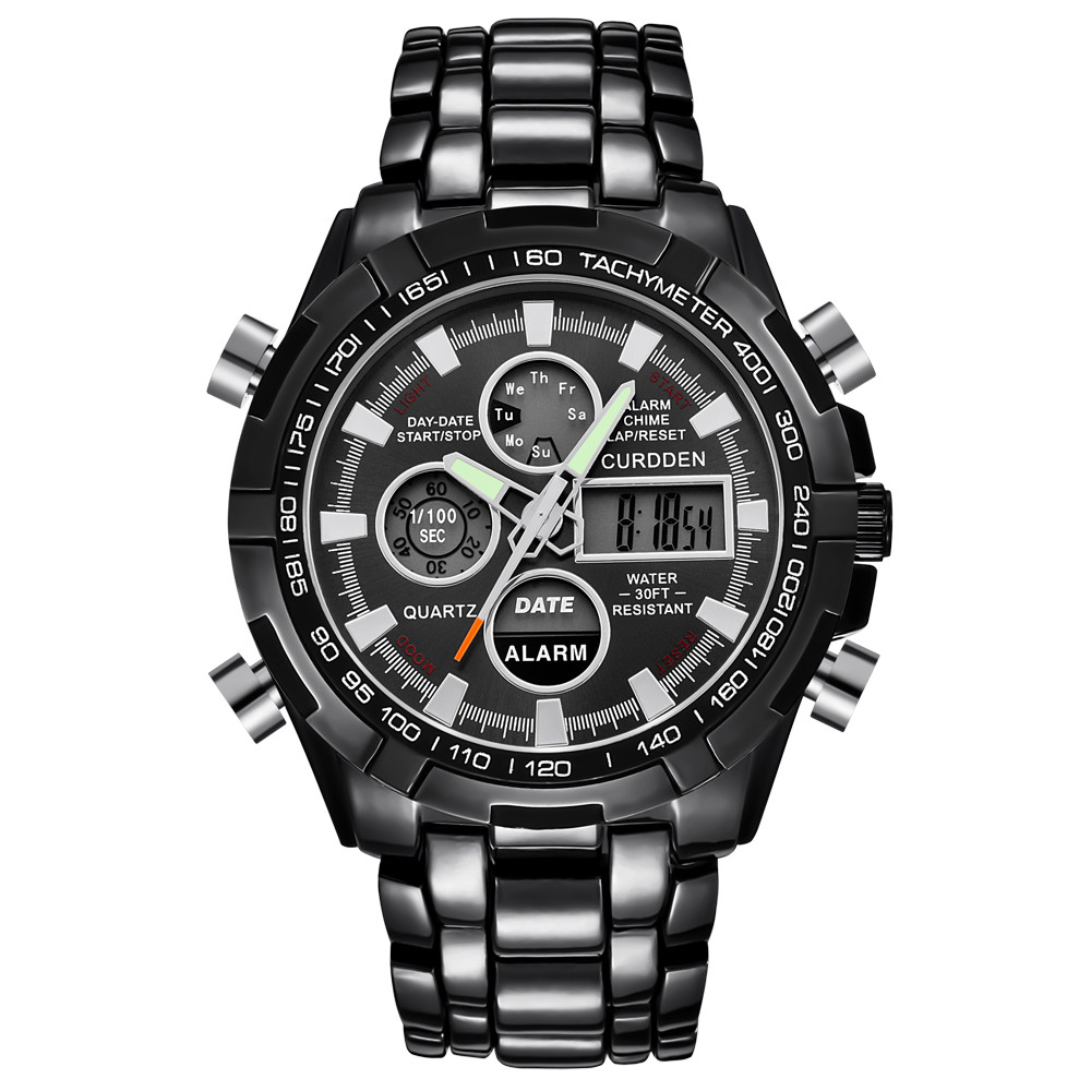 Mens LED Digital Quartz Wrist Watch Chronograph Black Stainless Steel Jewelry Sport leather fashion watches Luxury Classics A70 attractive hot sale mens stainless steel case sport black pu leather lcd digital quartz wrist watch sp17