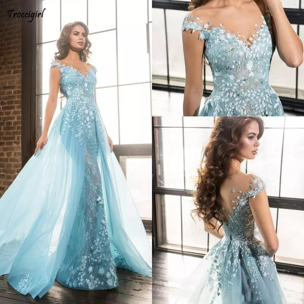 118-1 2018 Light Blue Elie Saab Overskirts Prom Dresses Arabic Mermaid Sheer Jewel Lace Applique Beads Tulle Formal Evening Party Gowns