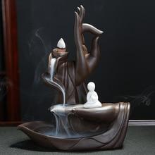 Traditional Buddha Hand Incense Burner Flower Lotus Smoke Waterfall Backflow Elegant Holder Crafts