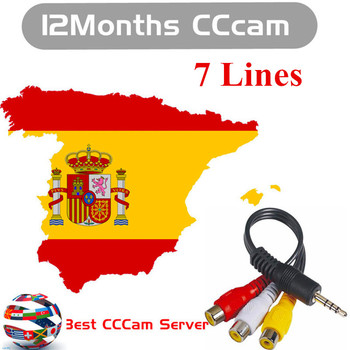 2020 Eroupe Cccam for Satellite TV Receiver 7 Clines WIFI FULL HD DVB-S2 Support Cccams in Spain Germany Poland 1 Year Clines