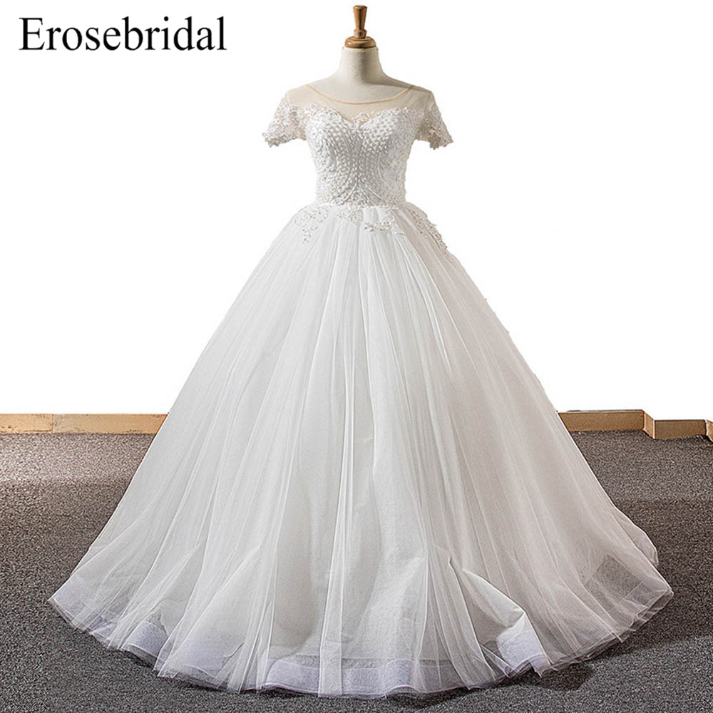 2018 New Pearls Ball Gown Wedding Dress Plus Size Bridal ...