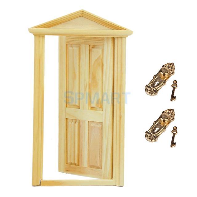 New 2017 Brand Dollhouse Miniature Exterior Solid Wood Door 8 Pcs Vintage Lock W Keys