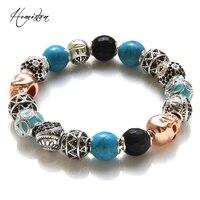 Thomas Style KM Bead Bracelet With OWL ETHNIC MAORI ZIGZAG SKULL Beads Rebel Heart Bracelet For