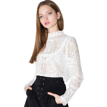 Fashion Hollow Out Lace Sexy Shirts Women Stand Neck Long Sleeve White Pullover Tops Casual Female Blouse