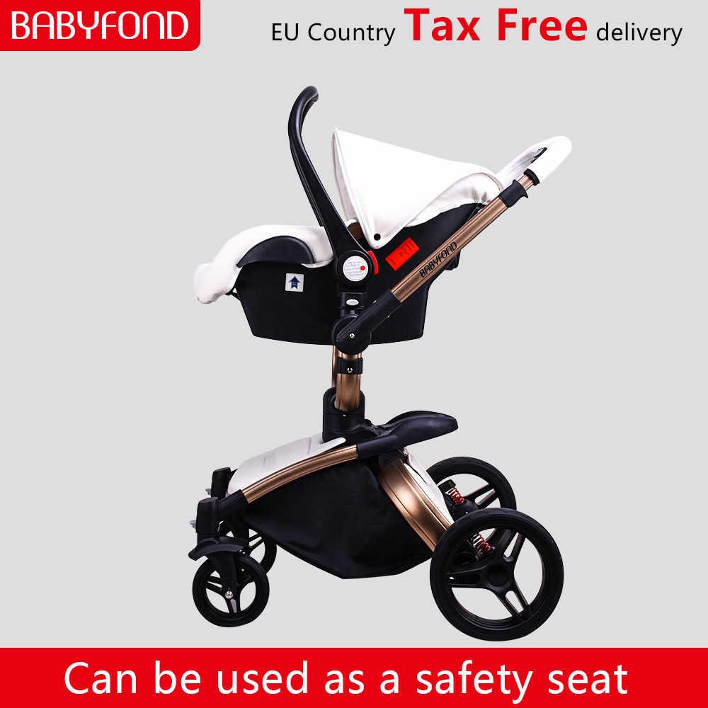 จัดส่งฟรี Babyfond ทารกรถเข็นเด็ก 3 in 1 2019 ใหม่สียุโรป Pram สูทสำหรับโกหกและที่นั่ง aulon