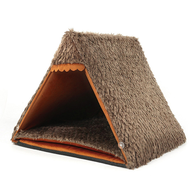 Autumn New Cat Small Dog Cave House Tepee Tents Short Plush Peacock Velvet Multinational Cat Bed Mats