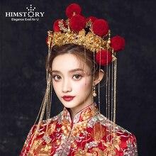 Himstory Truyền Thống Trung Hoa Đỏ Velet Bóng Cô Dâu Mũ Trụ Cổ Trang Phục Thủ Công Nữ Cưới Trang Sức Phụ Kiện Tóc