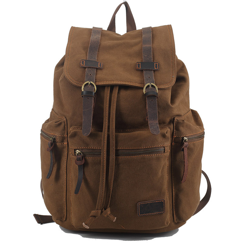 Vintage Retro Canvas Backpack Travel Casual Leather Bags for both Women and Men Bookbag for Teen Girls and Boys regent inox термос 0 48 л