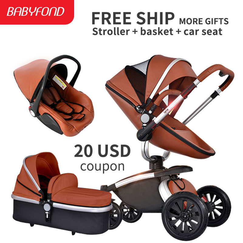Brand baby leather PU Baby Stroller 3 in 1 High Landscape Fold Strollers for Children Tr ...