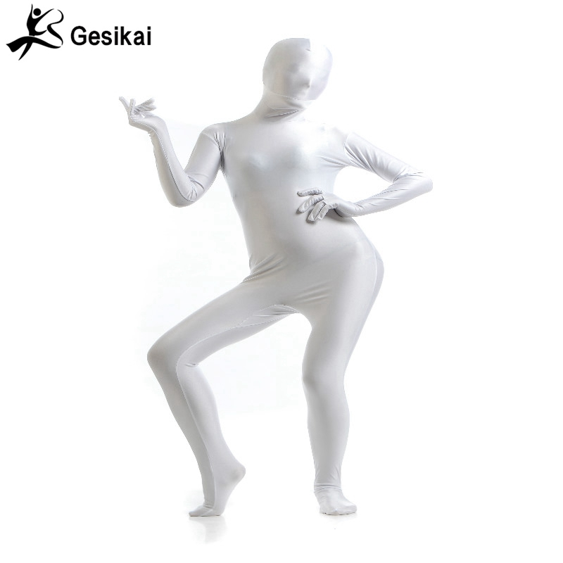 NEW Second Skin Tight Suits Lycra Zentai Suit White Spandex Unitard Women Mens Black Cosplay Halloween Dancer Full Body Suits
