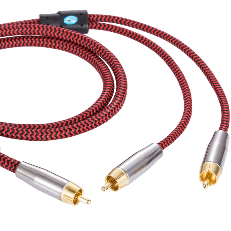 Audiophile Audio Cable RCA to 2 RCA Splitter Y Cable Amplifier ...
