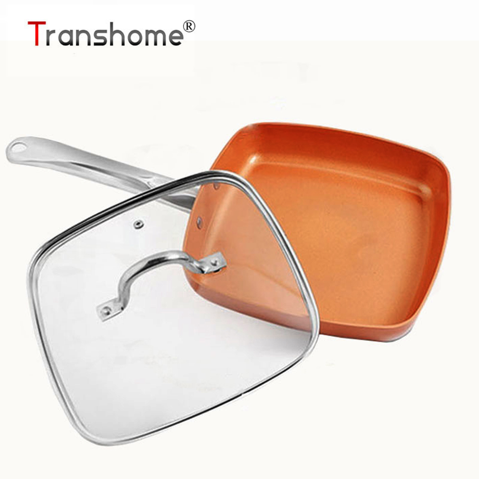 Transhome Frying Pan Non Stick Copper Pan With Glass Cover Square Grill Pan Induction Cooker Safe Cooking Pans Kitchen Tools