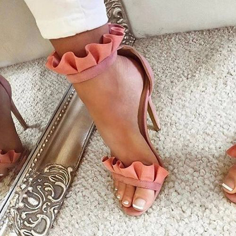 Summer New Pink Ruffles Gladiator Sandals Women Open Toe Ankle Strap High Heels Sandals Women Fashion Party Shoes Woman