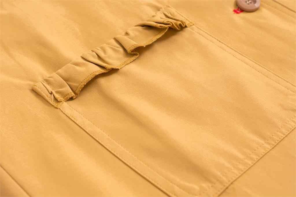 Giày Nữ Kaki Áo Gió Mùa Thu Nữ Mới Rãnh Dài Áo Khoác Preppy Xù Kẻ Sọc Thổ Cẩm Nữ Tuổi Teen Áo Khoác Ngoài Cotton