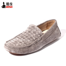 Hight Quailty Mens Cow Suede Leather SLIP-ON Loafers Casual Woven Driving Car Shoes Penny Loafers Men Moccasins 6 Colors цена