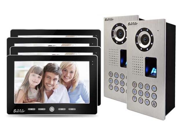 SMTVDP Luxury top quality 10Video Door Phone,HD IR Metal Camera w/t FRID panel,home Intercom System doorbell 2Cameras+4monitors
