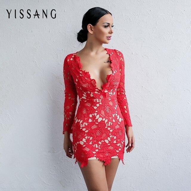 cdf8b632ab59d Yissang Dentelle Col En V Profond Femmes Mini Robe À Manches Longues  Élégant Parti Robes Moulante