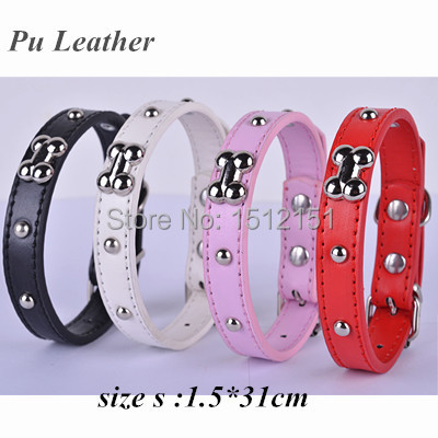 Personalized Studded Pu Leather Dog Collar Bone Shaped Accessories Collar Pink Red White Black Colors