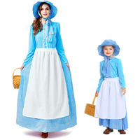 Vintage Women's Pioneer Maid Peasant Costume Colonial Dress Adventure Settler Theater Play Outfit For Women Halloween Plus Size