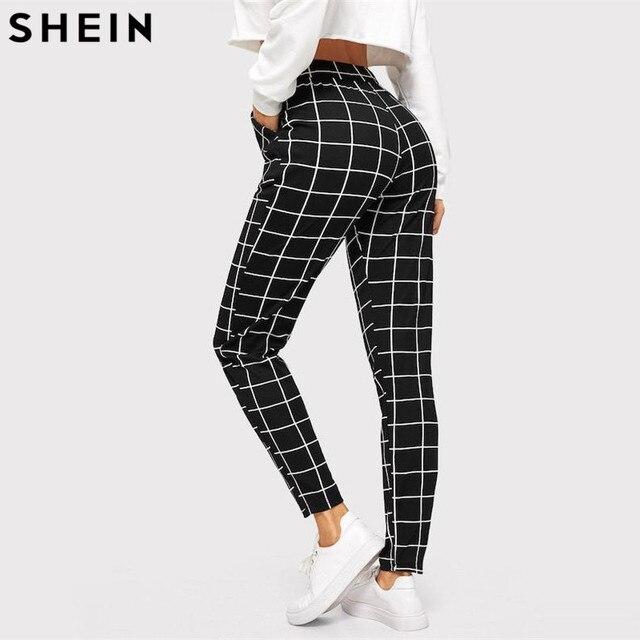 SHEIN Black Plaid Mid Waist Skinny Carrot Trousers Autumn Women Casual Slim Fit Vertical Women Pencil Streetwear Pants 2