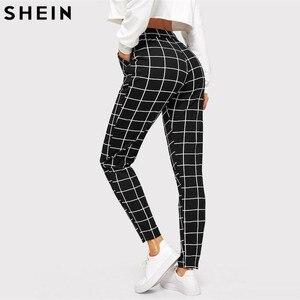 Image 2 - SHEIN noir Plaid mi taille Skinny carotte pantalon automne femmes décontracté Slim Fit Vertical femmes crayon Streetwear pantalon