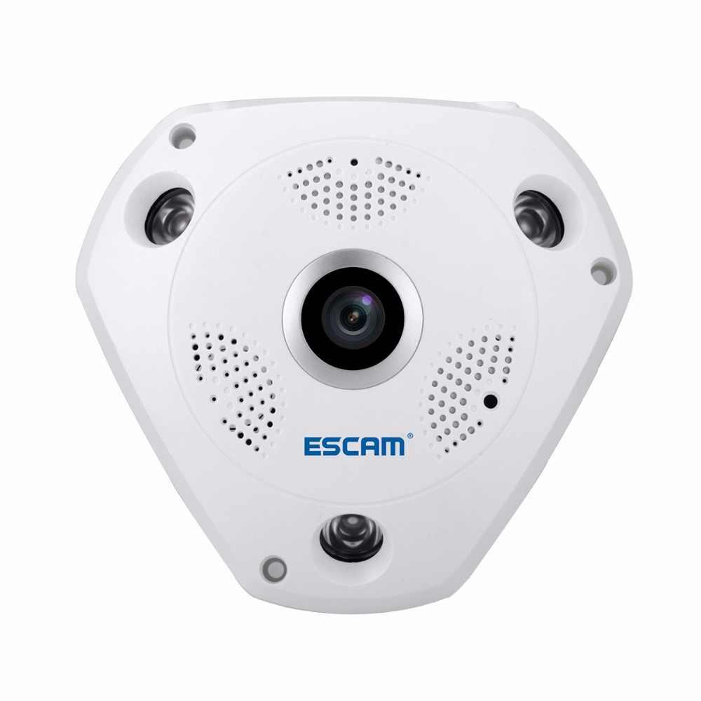 ESCAM Fisheye caméra soutien VR Box QP180 requin 960P IP WiFi caméra 1.3MP 360 degrés panoramique infrarouge caméra de Vision nocturne