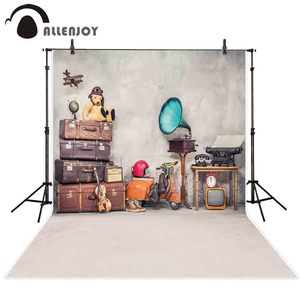 Image 2 - Allenjoy Vintage background photography travel retro bear box room backdrop photophone for children photo studio photobooth