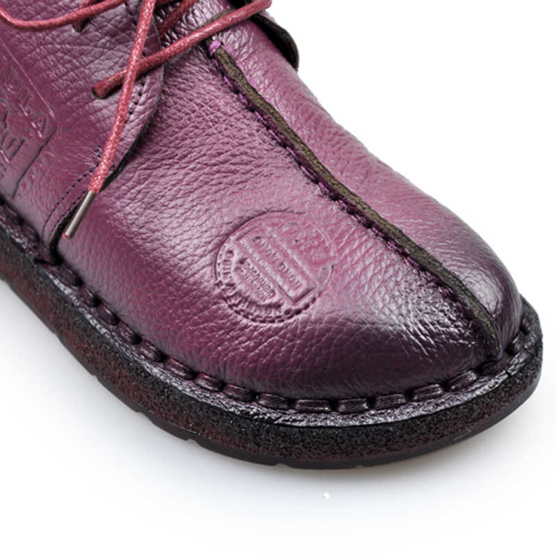 SNURULAN Fashion Retro Hand-Naaien Schoenen Vrouwen Flats Echt Lederen Zachte Bodem Vrouwen Schoenen Zachte Comfortabele Casual Schoenen E066