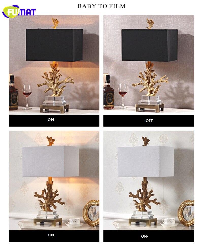 FUMAT Crystal Base Coralline Frame Table Lamps Luxury Gold Desk Light LED E27
