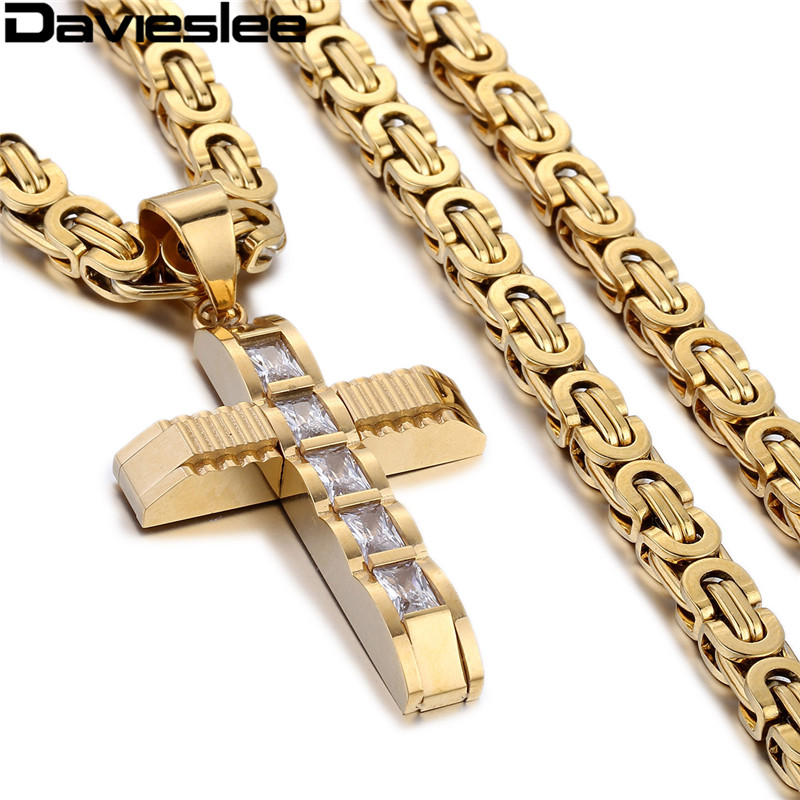 Davieslee Cross Pendant Necklace for Men Stainless Steel Chain Mens Necklaces Paved Clear Rightstones Gold Silver Tone LKP353 davieslee rhinestone cross pendant necklace for men gold silver black stainless steel chain women s dkf10