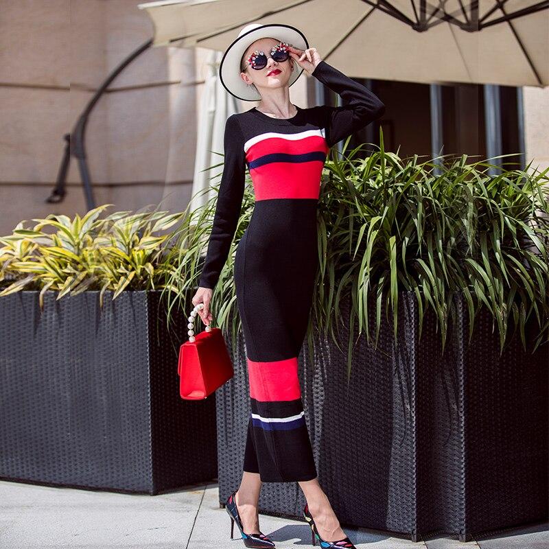 Rayé À Longue Xxl Bandage Tricoté Femmes Marque Longues Robe Hiver 2018 Haute Automne Manches Qualité Casual Sexy Tricot AP1wTtnqz
