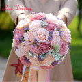 Multi Color 2017 Artificial Wedding Bouquet Bridal Flower Roses Purple Accessories Highly Recommended