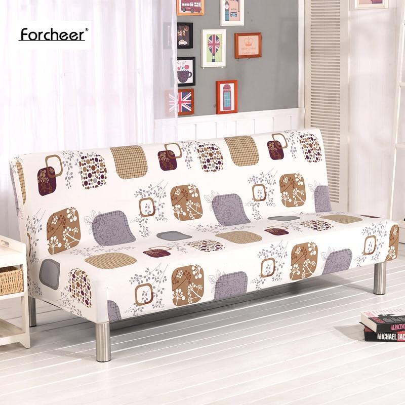 Sofa Ketat Bungkus All-inclusive Slip-elastis Elastis Peregangan Furniture Sarung Sofa Tanpa Sandaran Tangan Lipat Sofa Bed Cover