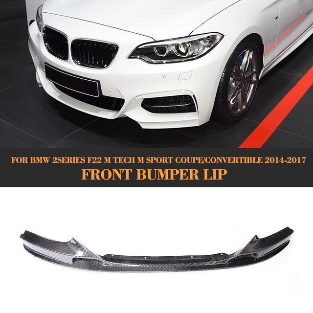 2 Series Carbon Fiber Front Bumper Lip Spoiler Chin for BMW F22 M Sport Coupe Only 14-17 Convertible 220i 230i 235i Black FRP