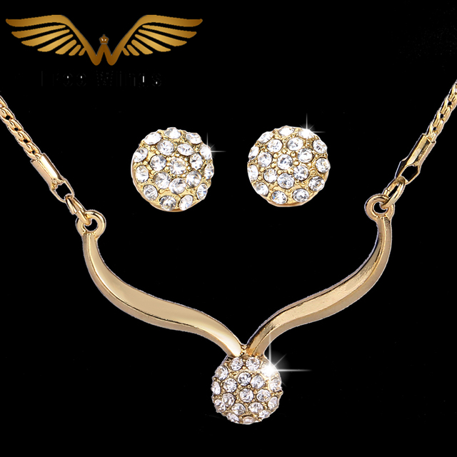 Vintage Fashion Rhinestone Gold Color Plated Jewelry Sets Bridal Wedding Jewellery Stud Earrings Necklaces For Women