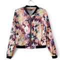 Nueva primavera mujer chaquetas tops cortos 2016 abrigo de manga larga con estampado floral vintage últimas mujeres clothing bombardero
