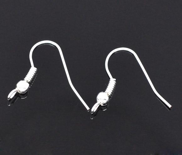 Оптовая продажа-Посеребренная Earwire крючки заключения серьги 19×18 мм, продается в пакет 150 пар