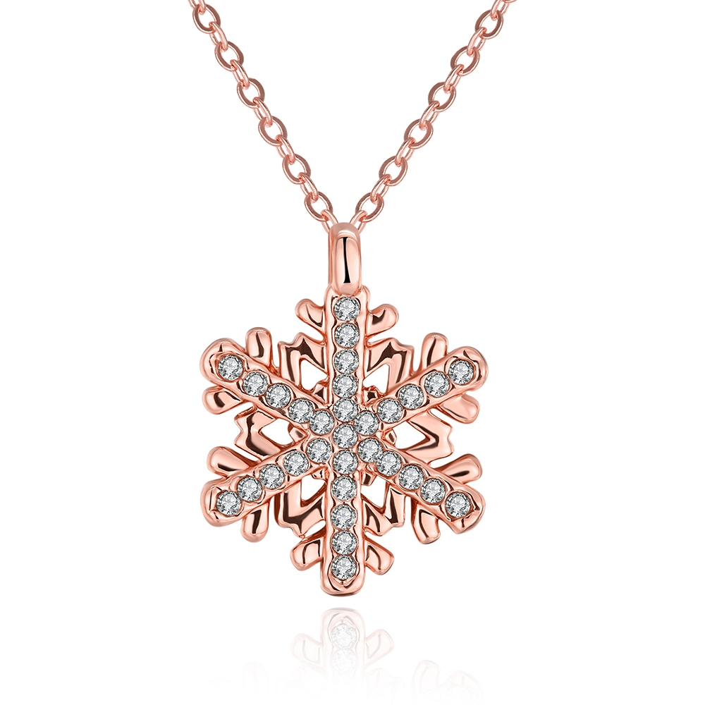 VN005 Romantic Rose Gold Plated 925 Sterling Silver Pendent Necklace Female Wedding Jewelry