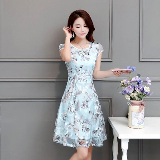 Middle Aged Womens Dress Summer Lace Long Clothes Summer Dresses