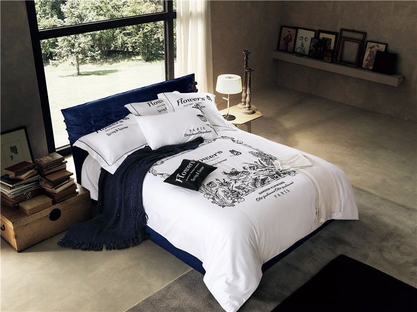 Bedding-Sets Oriental Egyptian Cotton Duvet-Cover Queen Silk Grey Embroidered White Luxury