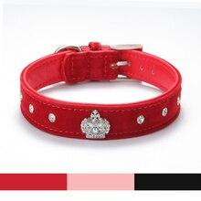 Rhinestones Crown font b Dog b font Collar Soft Velvet Material Adjustable necklacePet font b Dog