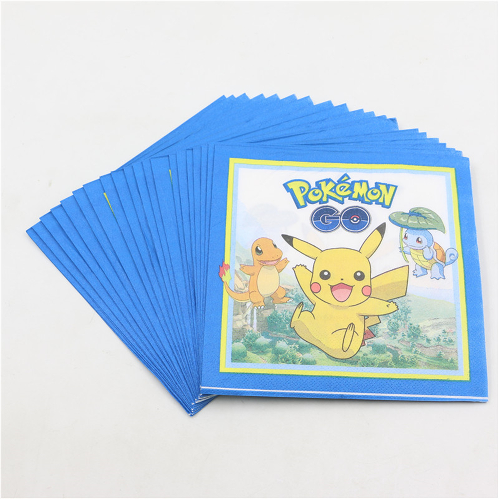 Pikachu Cartoon Wipe Happy Birthday Party Pokemon Go Theme Baby Shower Kids Favors Paper Napkins Decoration Supplies 20pcslot