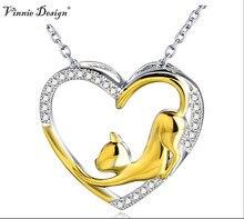 Plata de Ley 925 Corazón de Cristal Colgante Collar con 18 K Chapado en Oro del Gato Joyería de Lujo Collares Collier