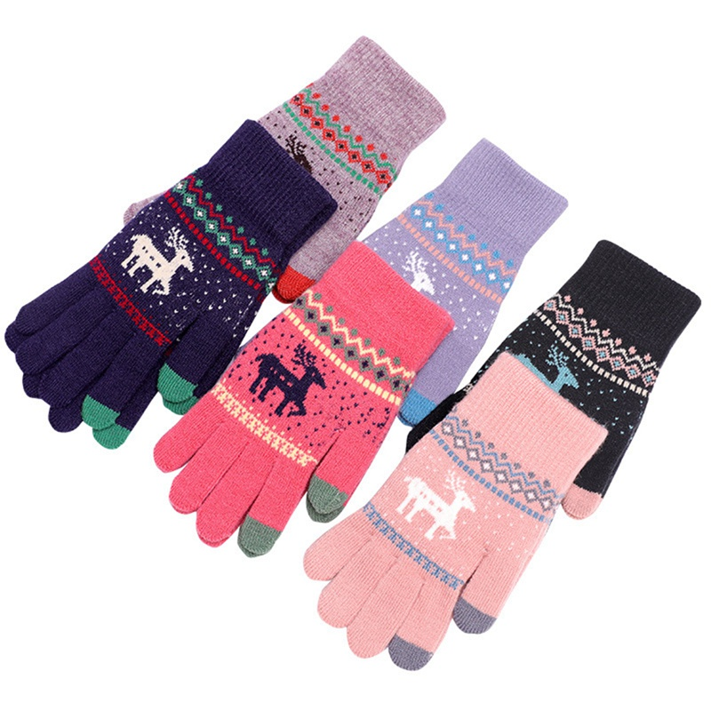 Cute Elk Deer Knitted Gloves Full Finger Winter Gloves Touch Screen Mittens For Women Female Gloves Girls Christmas Gift