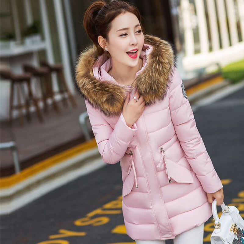 Large Natural Raccoon Fur 2017 New Wadded Jacket Female Women Winter Jacket Down Cotton Coat Slim Plus Size Womens Coats