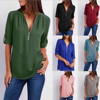 f27ba4e31d7 LASPERAL одноцветное рубашка на молнии свободные плюс размеры 5XL с длинным  рукавом шифоновые блузы