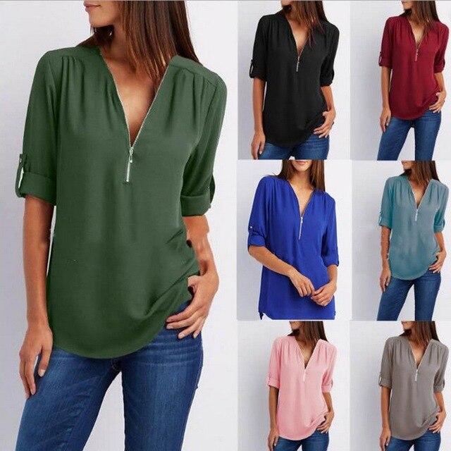 LASPERAL одноцветное рубашка на молнии свободные плюс размеры 5XL с длинным рукавом шифоновые блузы, топы новый для женщин Sexy V средства ухода за кожей Шеи
