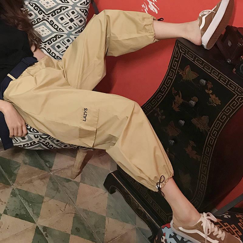 Fashion Streetwear Khaki Casual Cargo   Pants     Capris   Women 2019 Elastic High Waist Joggers Fashion Hip Hop Long Trousers Females