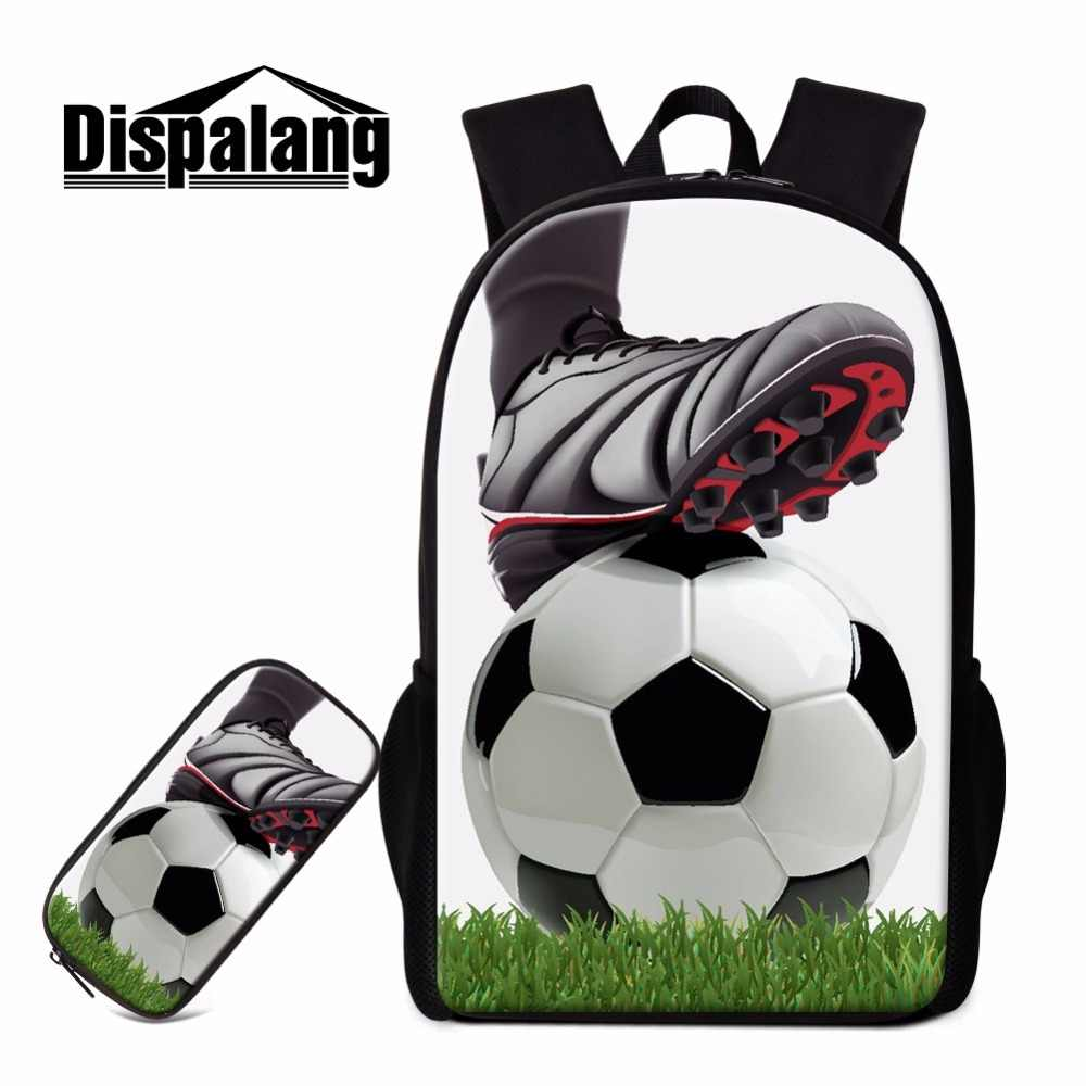 Dispalang Soccers Backpack Pencil Case Set for Boys Latest Design School Bag Footballs Printing Satchel Students Book Bag Child