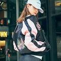 Senhora bordado Motociclista Bomber Jacket 2016 Outono Jaqueta De Beisebol Rosa Macacão de Vôo Jaqueta Casaco Com Zíper Com Bolso das Mulheres